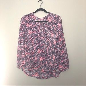 LUSH LONG SLEEVE HI-LO CROSSOVER FRONT BLOUSE